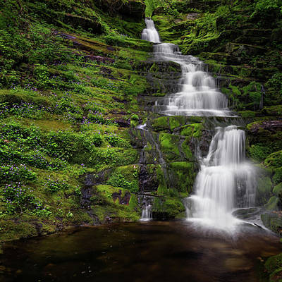 Tunxis Forest Waterfall Square Print by Bill Wakeley