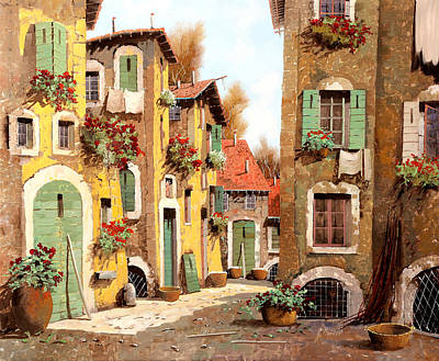 Village Painting - Tuorlo by Guido Borelli