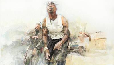 Beverly Hills Drawing - Tupac 15 by Jani Heinonen