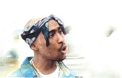 Music Painting - Tupac Dead Rap Artist by Jani Heinonen