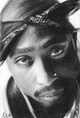 Nats Drawing - Tupac by Nat Morley