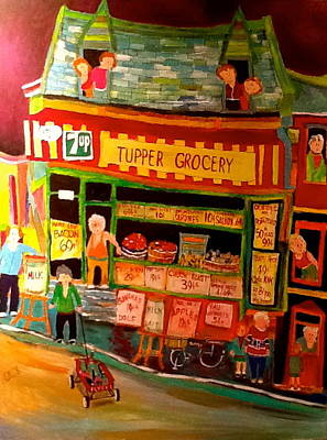 Litvack Naive Painting - Tupper Market 1960's by Michael Litvack