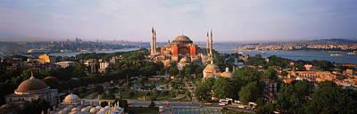 Turkey, Istanbul, Aya Sofya Museum With Golden Horn Behind Print by Robert Frerck