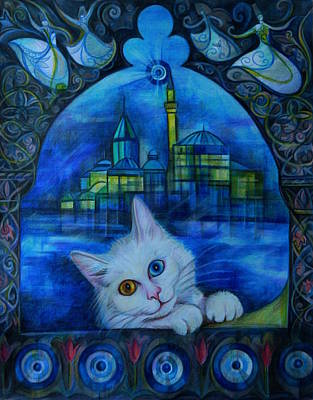 Turkish Van Cat Drawing - Turkish Fantasy by Anna Duyunova