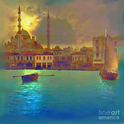 Turkish Painting - Turkish  Moonlight by Saiyyidah Seema  Z