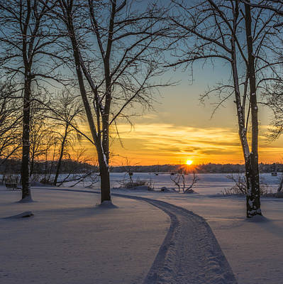 Snowmobile Photograph - Turn Left At The Sunset by Randy Scherkenbach