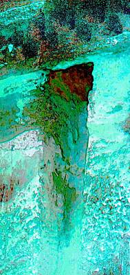 Long Street Digital Art - Turquoise Abstract Textured Wall 2b by Sue Jacobi