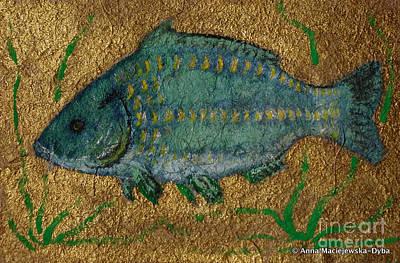 Polskie Obrazy Painting - Turquoise Carp by Anna Folkartanna Maciejewska-Dyba