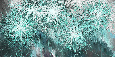 Black And White And Gray Abstract Painting - Turquoise Explosions - Blue And Gray Modern Art by Lourry Legarde
