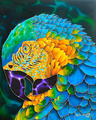 Parrot Painting - Turquoise Gold Macaw  by Daniel Jean-Baptiste