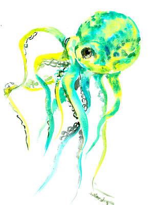 Octopus Drawing - Turquoise Green Octopus by Suren Nersisyan