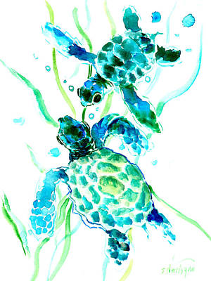 Turtle Drawing - Turquoise Indigo Sea Turtles by Suren Nersisyan
