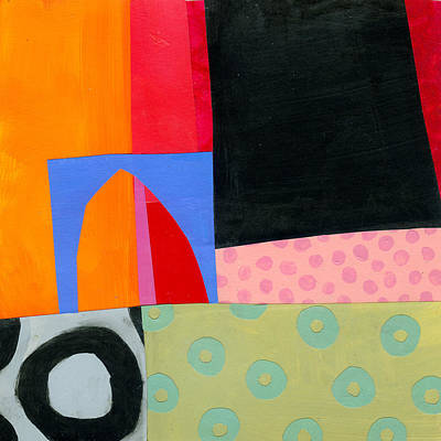 Abstract Collage Painting - Turquoise Lifesavers by Jane Davies