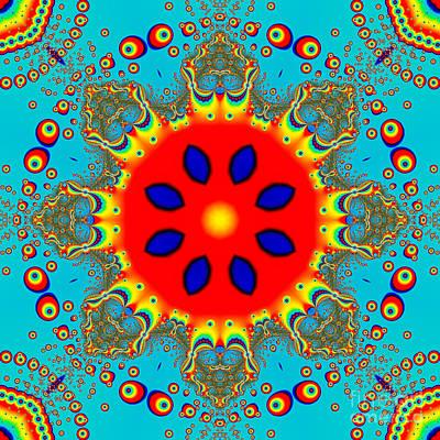 Mandala Digital Art - Turquoise Red Fractal Mandala by Marv Vandehey