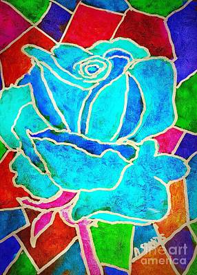 Turquoise Rose Print by Anne Sands