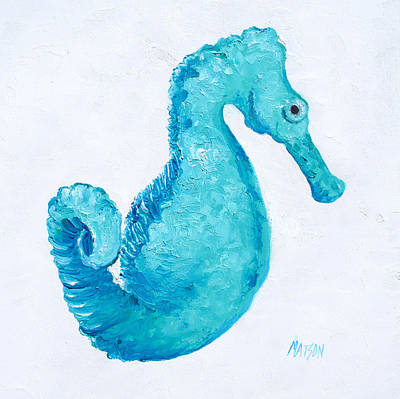 Seahorse Painting - Turquoise Seahorse by Jan Matson