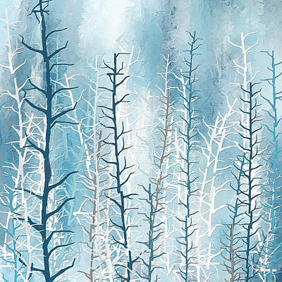 Turquoise Winter Print by Lourry Legarde