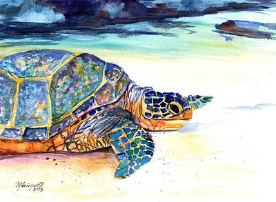 Honu Painting - Turtle At Poipu Beach 2 by Marionette Taboniar