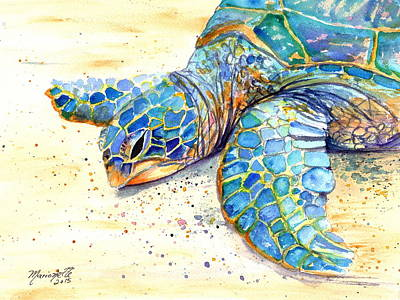 Hawaii Sea Turtle Painting - Turtle At Poipu Beach 4 by Marionette Taboniar