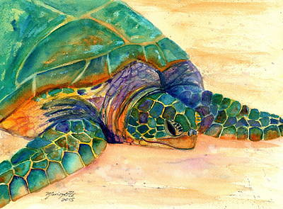 Honu Painting - Turtle At Poipu Beach 7 by Marionette Taboniar