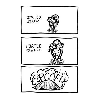 Turtle Power Comic Print by Karl Addison