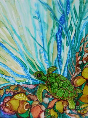 Abstract Using Brilliant Colors Painting - Turtle Too by Joan Clear