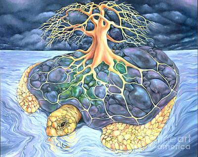 Hawaii Sea Turtle Painting - Turtle Tree Mandala by Marcia Snedecor
