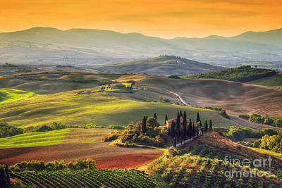 Tuscan Farm House, Vineyard, Hills Print by Michal Bednarek