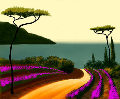 Italy Mediterranean Art Tuscany Painting - Tuscan Fields Of Beauty by Larry Cirigliano