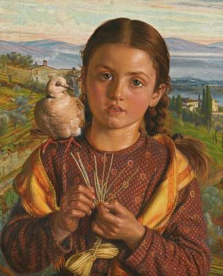 Plaiting Painting - Tuscan Girl Plaiting by William Hunt