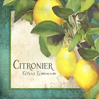 Etching Mixed Media - Tuscan Lemon Tree - Citronier Citrus Limonum Vintage Style by Audrey Jeanne Roberts