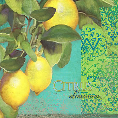 Italy Mediterranean Art Tuscany Painting - Tuscan Lemon Tree - Citrus Limonum Damask by Audrey Jeanne Roberts