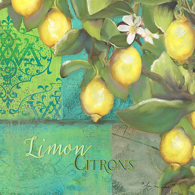Italy Mediterranean Art Tuscany Painting - Tuscan Lemon Tree - Damask Pattern 2 by Audrey Jeanne Roberts