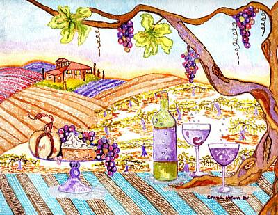 Glass Of Wine Painting - Tuscan Living In Style by Connie Valasco