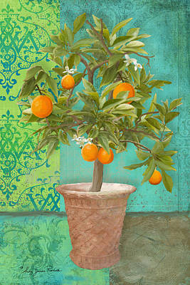 Italy Mediterranean Art Tuscany Painting - Tuscan Orange Topiary - Damask Pattern 2 by Audrey Jeanne Roberts