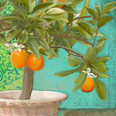 Italy Mediterranean Art Tuscany Painting - Tuscan Orange Topiary - Damask Pattern 3 by Audrey Jeanne Roberts