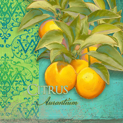 Italy Mediterranean Art Tuscany Painting - Tuscan Orange Tree - Citrus Aurantium Damask by Audrey Jeanne Roberts