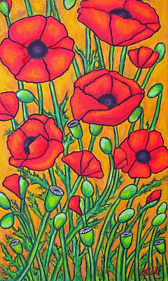 Poppies Field Painting - Tuscan Poppies - Crop 2 by Lisa  Lorenz