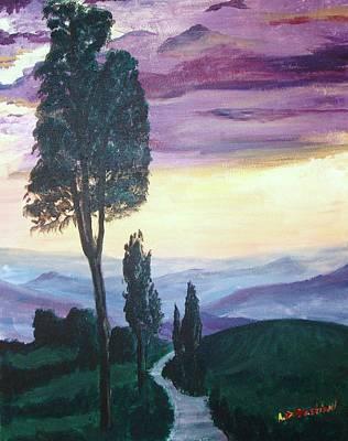 Tuscan Sunset Painting - Tuscan Twilight by Adam Bastiani