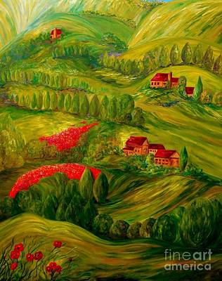 Italian Wine Painting - Tuscany At Dawn by Eloise Schneider