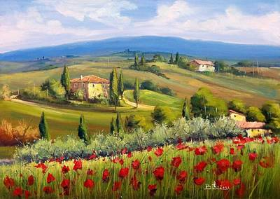 Tuscan Sunset Painting - Tuscany Atmosphere 50x70 Cm by Bruno Chirici