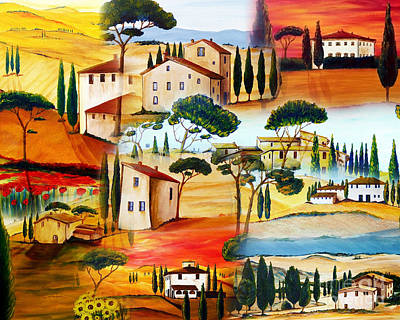 Yellow Painting - Tuscany Collage by Christine Huwer