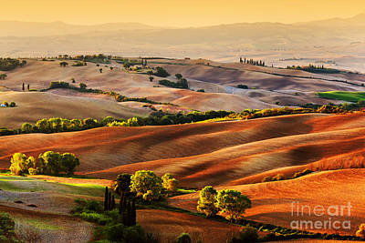 Tuscany Countryside Landscape At Sunrise Print by Michal Bednarek