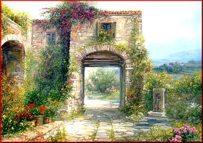 A Summer Evening Landscape Painting - Tuscany Farmhouse by Antonia Varallo