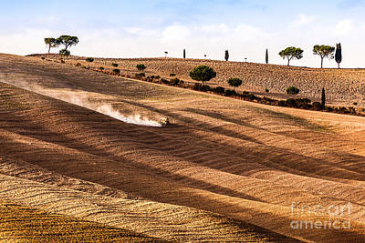 Tractor Photograph - Tuscany Fields Autumn Landscape, Italy. Harvest Season, Tractor Working by Michal Bednarek