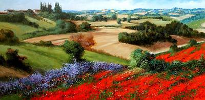 A Summer Evening Landscape Painting - Tuscany Hills by Daniele Raisi