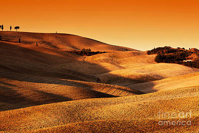 Ground Photograph - Tuscany, Italy Landscape At Sunset. Picturesque Hills With Lights And Shadows by Michal Bednarek