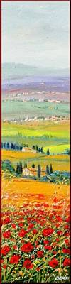 A Summer Evening Landscape Painting - Tuscany Summer by Antonio Berti