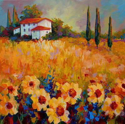 Tuscany Landscape Painting - Tuscany Sunflowers by Marion Rose