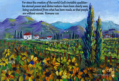 With Scripture Painting - Tuscany Sunflowers With Scripture by Lou Ann Bagnall
